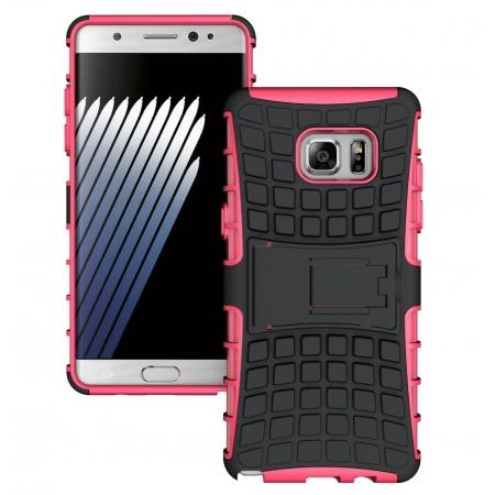 Hybrid Armor Tough Kickstand Phone Cover Case for Samsung Galaxy Note 7 / Note 6 Edge - Hot pink