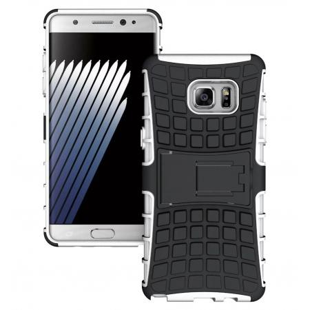 Hybrid Armor Tough Kickstand Phone Cover Case for Samsung Galaxy Note 7 / Note 6 Edge - White
