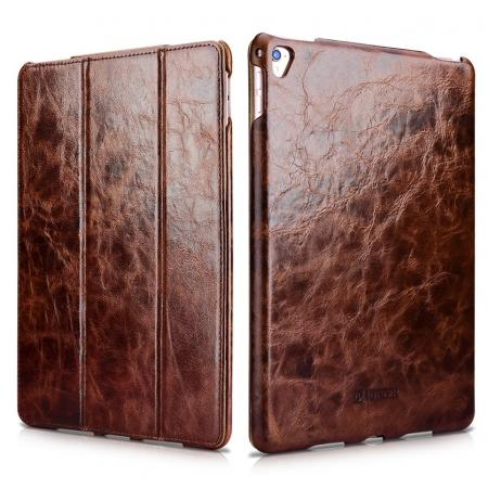 ICARER Oil Wax Cowhide Genuine Leather Stand Folio Case For 9.7-inch iPad Pro - Coffee