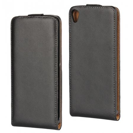 Premium Vertical Open Flip Clasp up Down Genuine Leather Case Cover for Sony Xperia XA