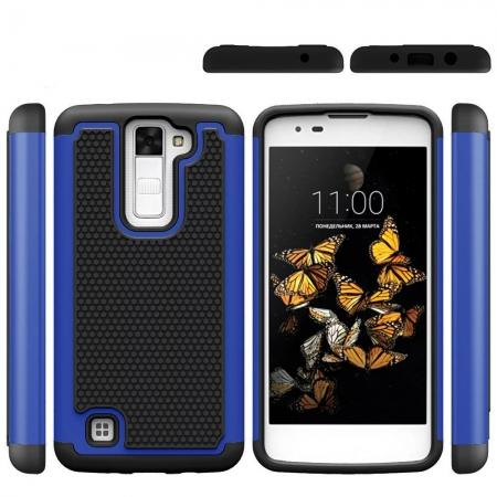 Slim Protective Hybrid Armor Tough Phone Cover Case for LG Phoenix 2 - Dark blue&Black