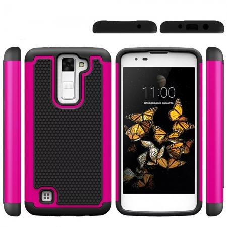 Slim Protective Hybrid Armor Tough Phone Cover Case for LG Phoenix 2 - Hot pink&Black