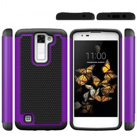 Slim Protective Hybrid Armor Tough Phone Cover Case for LG Phoenix 2 - Purple&Black