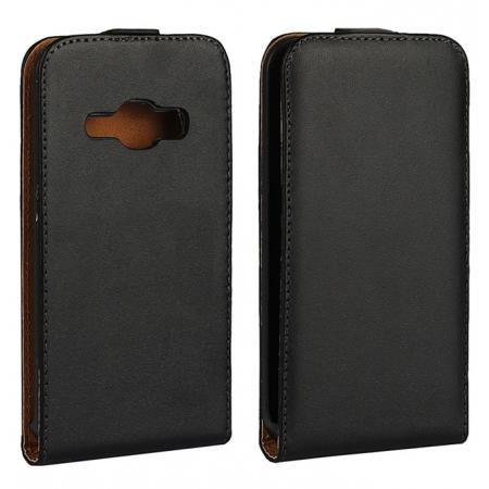 Vertical Open Flip up Down Genuine Leather Case Cover for Samsung Galaxy J1 2016