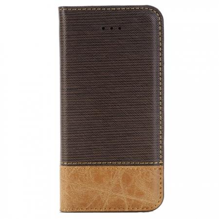 Cross Pattern Crazy Horse Leather Flip Stand Case for iPhone 7 4.7 inch - Coffee
