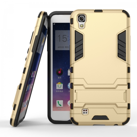 Hard Slim Armor Hybrid Kickstand Protective Cover Case for LG X Power K210 / K6P - Gold