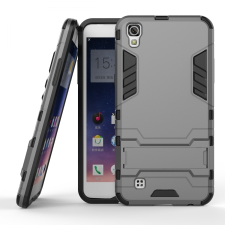 Hard Slim Armor Hybrid Kickstand Protective Cover Case for LG X Power K210 / K6P - Gray