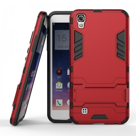 Hard Slim Armor Hybrid Kickstand Protective Cover Case for LG X Power K210 / K6P - Red