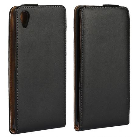 Luxury Genuine Leather Magnetic Vertical Flip Cover Holster Pouch Case for Sony Xperia X - Black