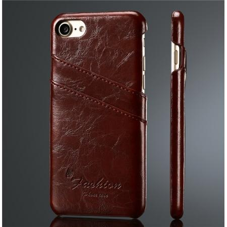 Oil Wax Style Insert Card Leather Back Case Cover for iPhone 7 4.7 inch - Wine Red