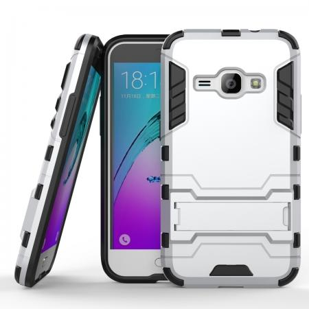 Rugged Armor Dual Layer Hybrid Kickstand Protective Case for Samsung Galaxy J1 2016 / Amp 2 - Silver