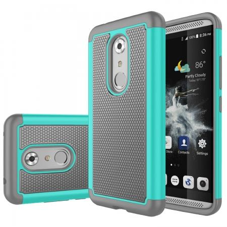 Shock Absorbing Hybrid Armor Dual Layer Protective Cover Case for ZTE Axon 7 - Cyan&Gray