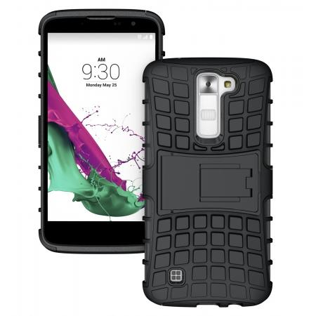 Tough Protective Dual Layer Hybrid Armor Kickstand Cover Case for LG K8 / Escape 3 - Black