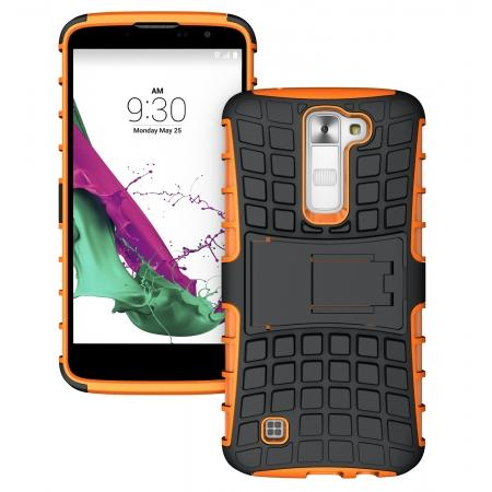 Tough Protective Dual Layer Hybrid Armor Kickstand Cover Case for LG K8 / Escape 3 - Orange