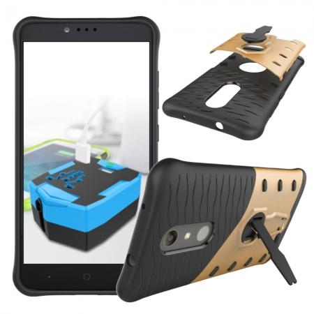 360° Degree Kickstand Shockproof Armor Protective Cover Case For ZTE ZMAX Pro Z981 - Gold