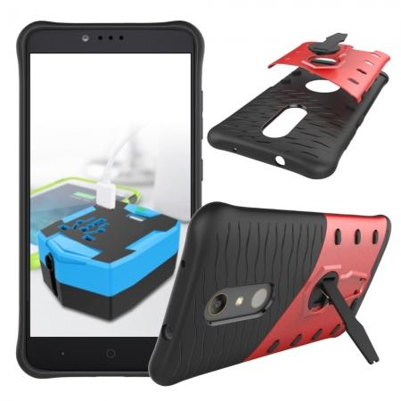 360° Degree Kickstand Shockproof Armor Protective Cover Case For ZTE ZMAX Pro Z981 - Red