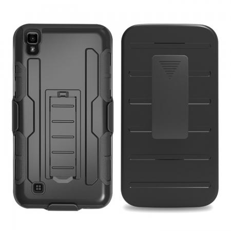Black Belt Clip Holster Combo Defender Kickstand Protective Cover Case for LG X Power
