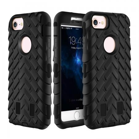 Hybrid Armor Dual Layer ShockProof Protector Cover Case for iPhone 7 4.7inch - Black