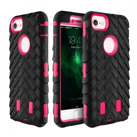 Hybrid Armor Dual Layer ShockProof Protector Cover Case for iPhone 7 4.7inch - Hot pink