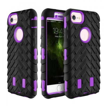 Hybrid Armor Dual Layer ShockProof Protector Cover Case for iPhone 7 4.7inch - Purple