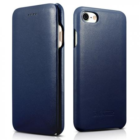 ICARER Curved Edge Luxury Series Genuine Cowhide Leather Case Cover For iPhone 7 - Dark Blue