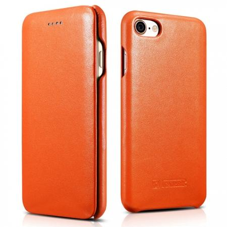 ICARER Curved Edge Luxury Series Genuine Cowhide Leather Flip Case For iPhone 7 Plus - Orange