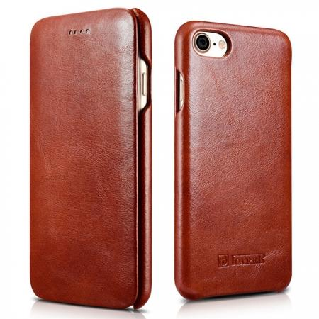 ICARER Curved Edge Vintage Series Genuine Leather Flip Case For iPhone 7 Plus 5.5 inch - Brown