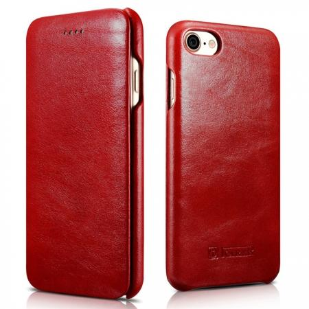 ICARER Curved Edge Vintage Series Genuine Leather Flip Case For iPhone 7 Plus 5.5 inch - Red