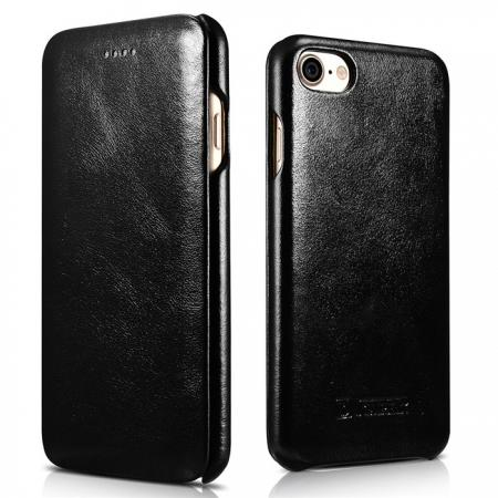 ICARER Curved Edge Vintage Series Genuine Leather Side Flip Case For iPhone 7 8 X Black