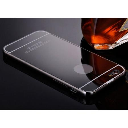 Luxury Aluminum Metal Bumper Mirror Back Case Cover for iPhone 7 4.7inch - Black
