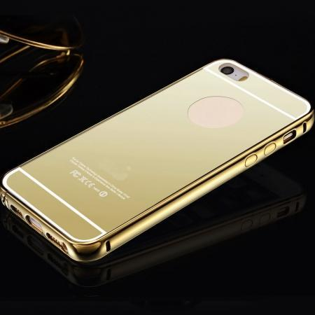Luxury Aluminum Metal Bumper Mirror Back Case Cover for iPhone 7 4.7inch - Gold