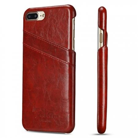 Oil Wax Pu Leather Credit Card Holder Back Case Cover for iPhone 7 Plus 5.5 inch - Red