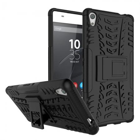 Rugged Armor Shockproof Kickstand Protective Cover Case For Sony Xperia XA Ultra - Black