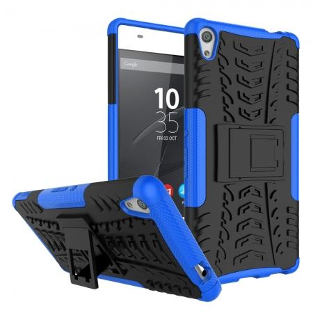 Rugged Armor Shockproof Kickstand Protective Cover Case For Sony Xperia XA Ultra - Blue