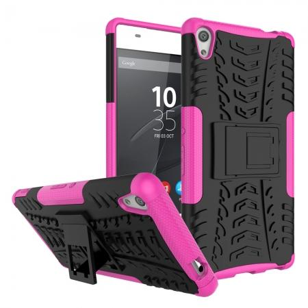 Rugged Armor Shockproof Kickstand Protective Cover Case For Sony Xperia XA Ultra - Hot pink