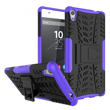 Rugged Armor Shockproof Kickstand Protective Cover Case For Sony Xperia XA Ultra - Purple