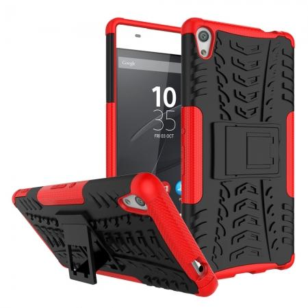 Rugged Armor Shockproof Kickstand Protective Cover Case For Sony Xperia XA Ultra - Red