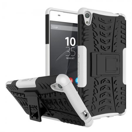 Rugged Armor Shockproof Kickstand Protective Cover Case For Sony Xperia XA Ultra - White