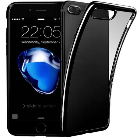 Ultra Thin Soft TPU Silicone Back Cover with Electroplate Frame Case for iPhone 7 Plus - Black