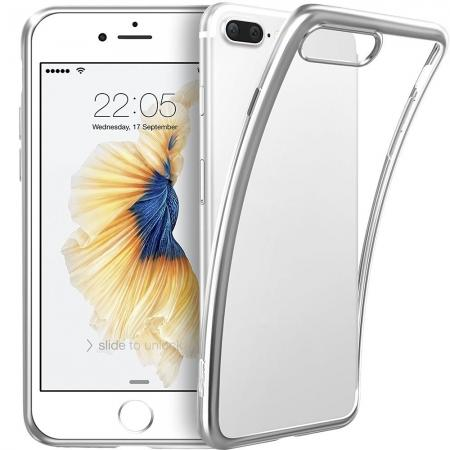 Ultra Thin Soft TPU Silicone Back Cover with Electroplate Frame Case for iPhone 7 Plus - Silver