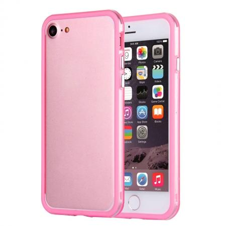 Clear Soft TPU Back Frame Border Cover TPU Bumper Case for iPhone 7 4.7inch - Clear&Pink