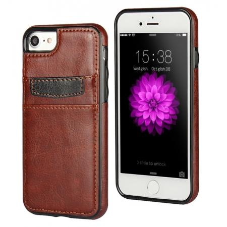 Crazy Horse Leather Card Slots TPU Back Case Cover For iPhone 7 4.7 inch - Brown