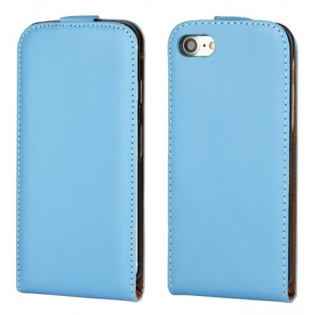 Genuine Leather Vertical Flip Magnetic Phone Case for iPhone 7 Plus 5.5 inch - Blue