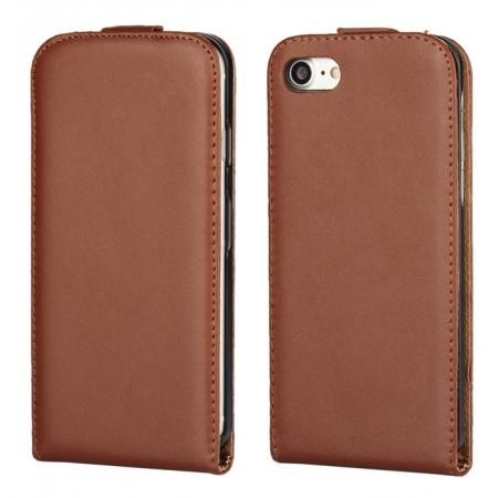 Genuine Leather Vertical Flip Magnetic Phone Case for iPhone 7 Plus 5.5 inch - Brown