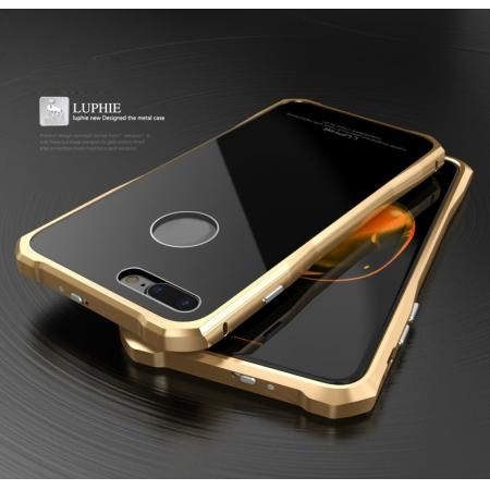Original Luphie Tempered Glass Back Cover Metal Bumper Case for iPhone 7 4.7inch - Gold&Black