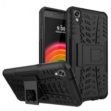 Slim Armor Hard Kickstand Defender Protective Cover Case for LG X Power / K6P - Black