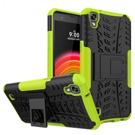 Slim Armor Hard Kickstand Defender Protective Cover Case for LG X Power / K6P - Green
