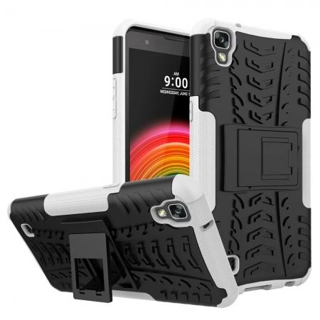 Slim Armor Hard Kickstand Defender Protective Cover Case for LG X Power / K6P - White