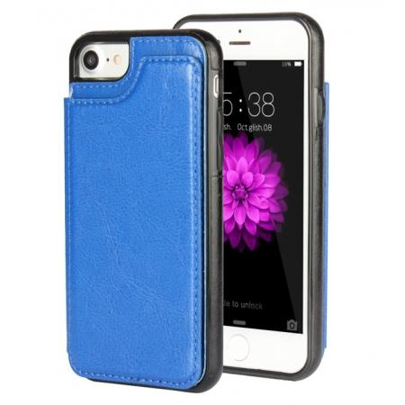 Leather Coated TPU Back Card Holder Cover Phone Case for iPhone 7 Plus 5.5 inch - Blue