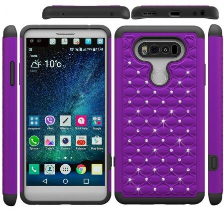 Luxury Diamond Bling Hybrid Dual Layer Protective Phone Cover Case for LG V20 - Purple&Black